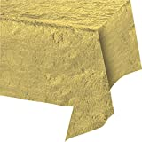 """Creative Converting 38321 Metallic Tablecover, 54 by 108"""", Gold"""