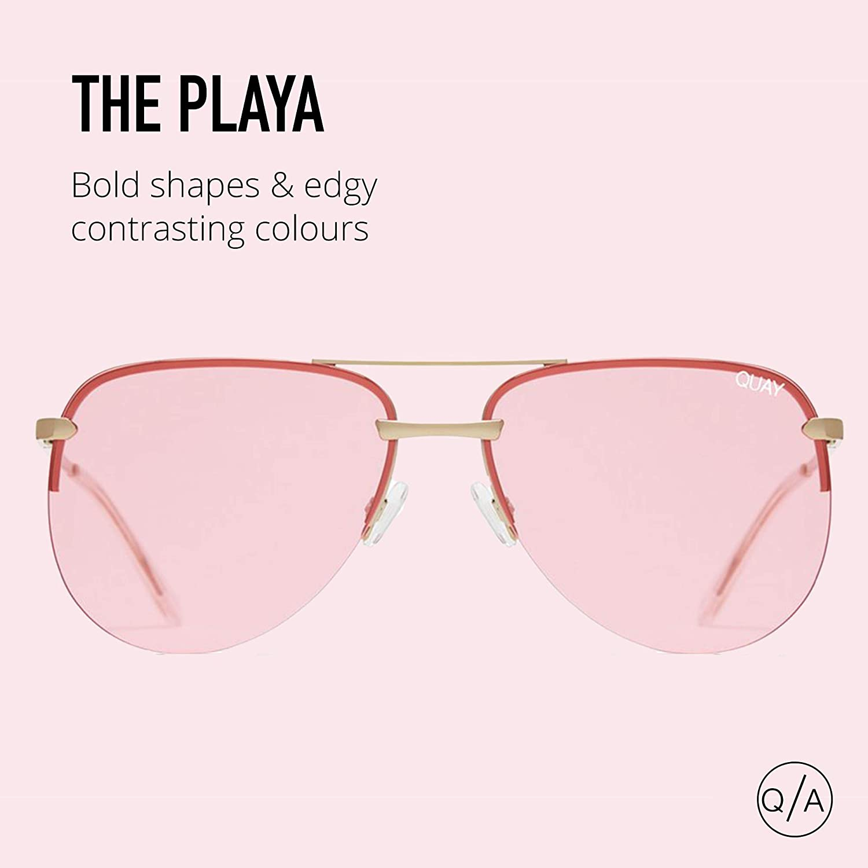 a0813dcf7e4 Amazon.com  Quay Australia THE PLAYA Women s Sunglasses Framelss Aviator -  Rose Pink  Clothing