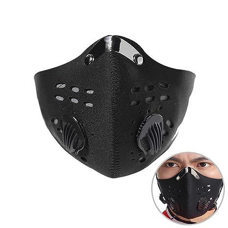 Aolvo Máscara de Carbono Antipolvo y Antipolvo para Motocicleta, con Filtro para Gas de Escape