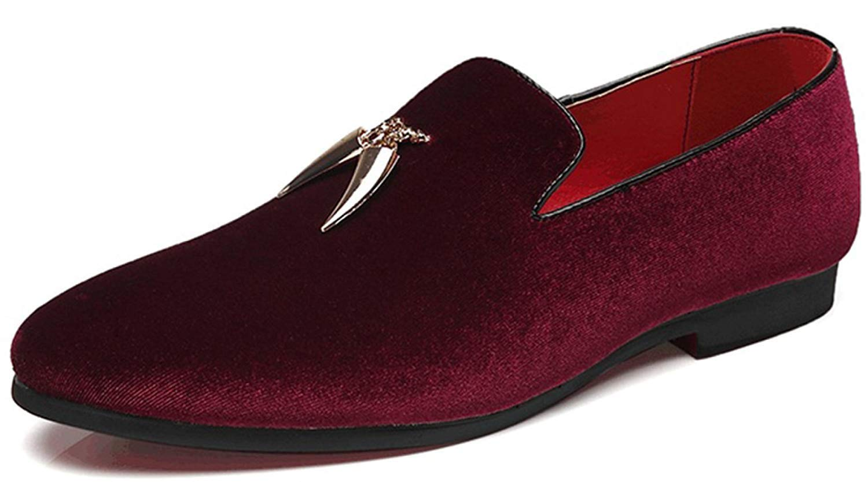 FuweiEncore Mann-Müßiggänger-Mode-zufällige Schuhe Bequemes Großes Samt-Oberleder (Farbe   Weinrot, Größe   48EU)