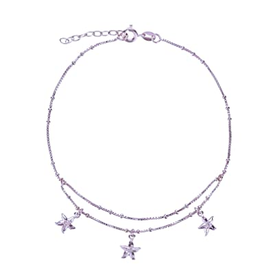 SL-Silver 925Silver Foot Chain Anklets 23-25cm Starfish 925Sterling Silver mK1Q87zT