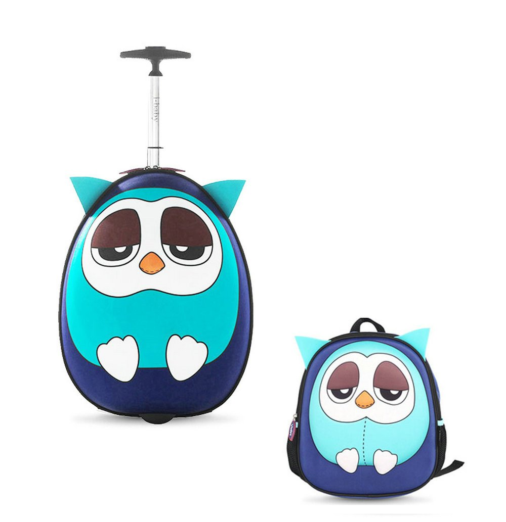 i-baby 2PC Kids Luggage Set Toddler Suitcase Sets 3D Cartoon Rolling Luggage plus A 3D Animal Backpack Waterproof Children Travel Carry On Luggage Set (Blue Owl)