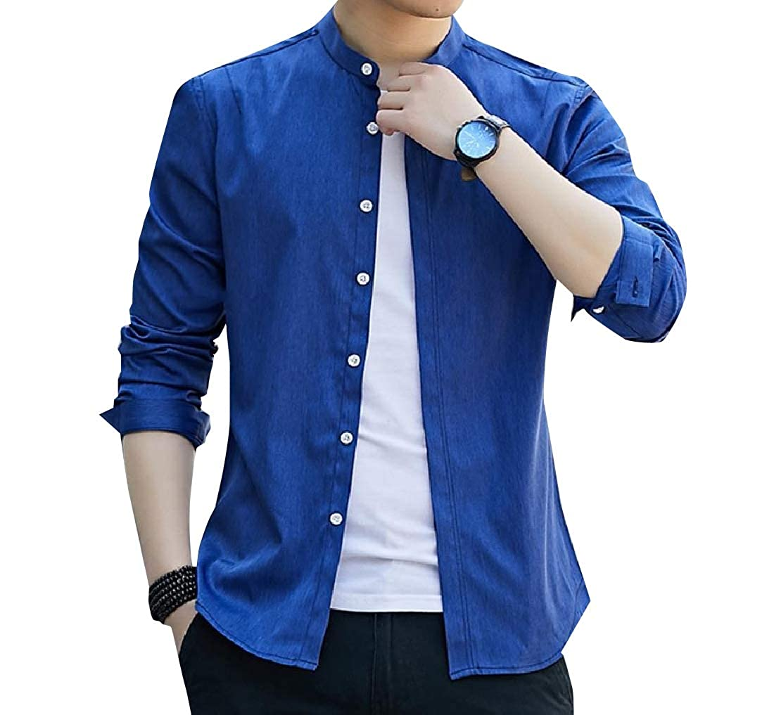 YUNY Men Plus Size T-Shirts Pure Colour Single Breasted Dress Shirt Dark Blue S