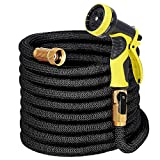 LAYDRAN Expandable Garden Hose with Hanger - 50ft Flexible Water Hose with Double Latex Core, 3/4 Solid Brass Fittings, Extra Strength Fabric Expanding Hose with 9 Function Spray Nozzle,Storage Bag