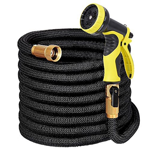 LAYDRAN Expandable Garden Hose with Hanger – 50ft Flexible Water Hose with Double Latex Core, 3/4 Solid Brass Fittings, Extra Strength Fabric Expanding Hose with 9 Function Spray Nozzle,Storage Bag