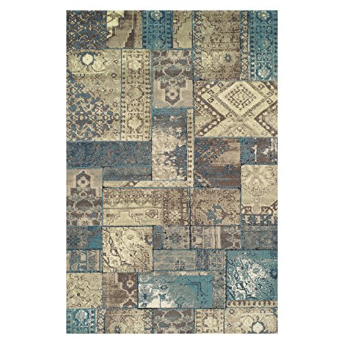 Superior Zedler Collection Area Rug, 10mm Pile Height with Jute Backing, Fashionable and Affordable Rugs, Vintage Oriental Patchwork Rug Design - 8' x 10' Rug, Blue and Beige