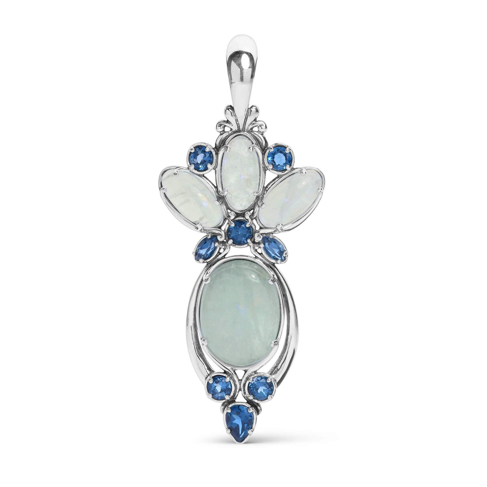 Carolyn Pollack Sterling Silver Milky Aquamarine and Blue Topaz Gemstone Pendant Enhancer