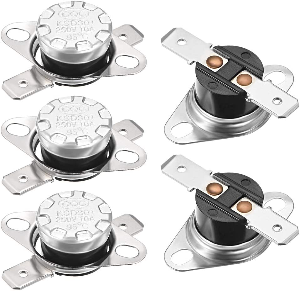 uxcell KSD301 Thermostat 95°C/203°F 10A Normally Closed N.C Snap Disc Temperature Switch for Microwave,Oven,Coffee Maker,Smoker 5pcs