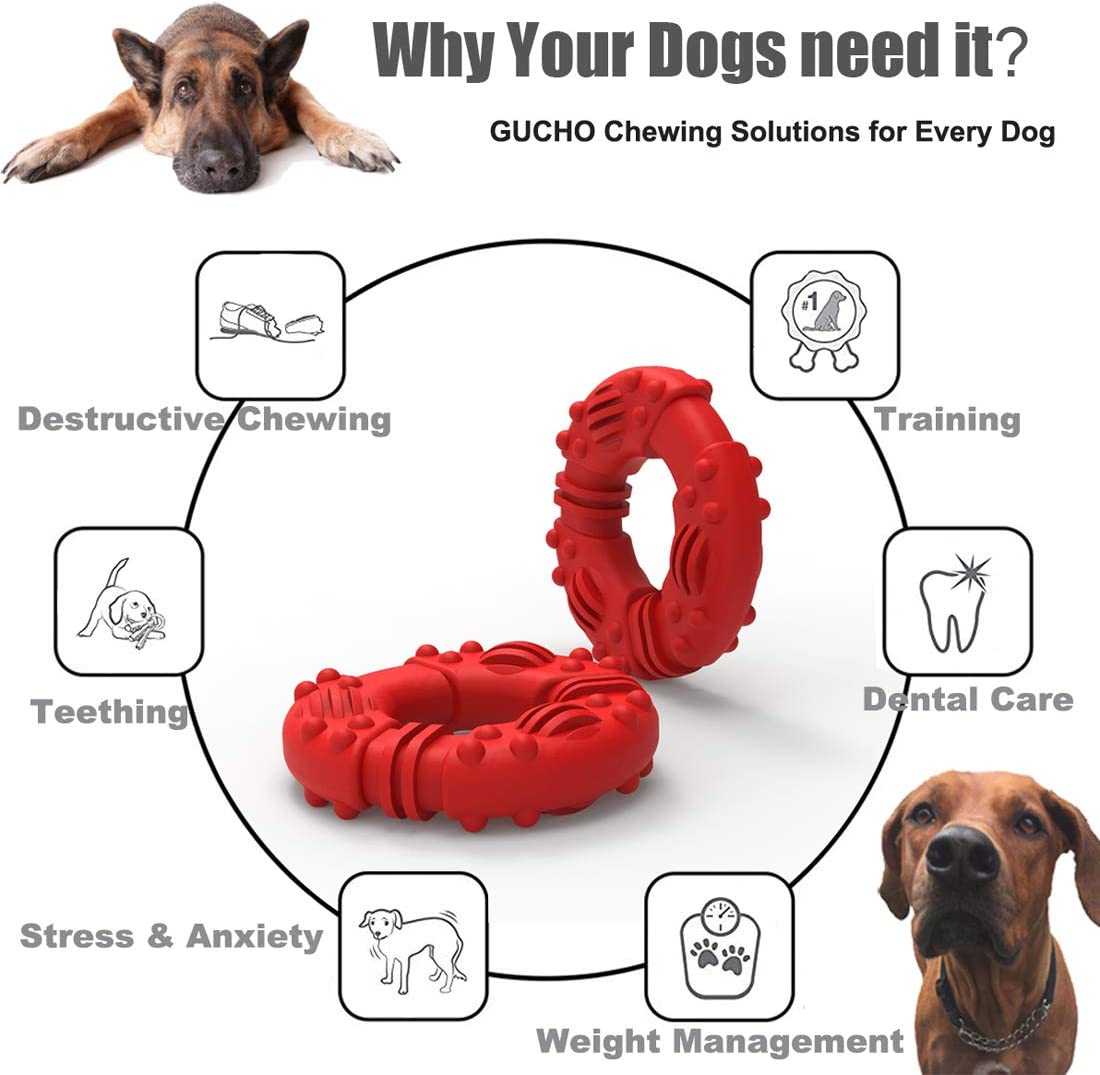 Lifetime Replacement Guarantee Indestructible Dog Toys Tough Rubber Puppy Chew Toys for Medium//Large Dogs Perfect Training Teething Toys GUCHO Durable Dog Chew Toys for Aggressive Chewers