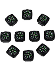 bayite Hard Shell Liquid Filled Button Compass Set for Survival Watch Band Paracord Bracelet Pack of 10