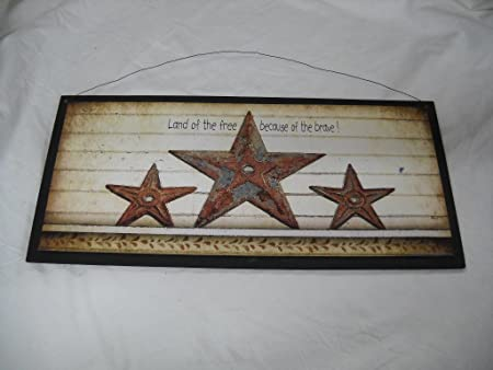 Land Of The Free Because Of The Brave Barn Stars Wooden Wall Art