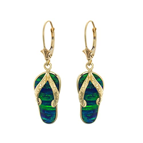 8787fb119d6a Image Unavailable. Image not available for. Color  14k Yellow Gold Large  Created Opal Flip Flop Leverback Dangle Earrings
