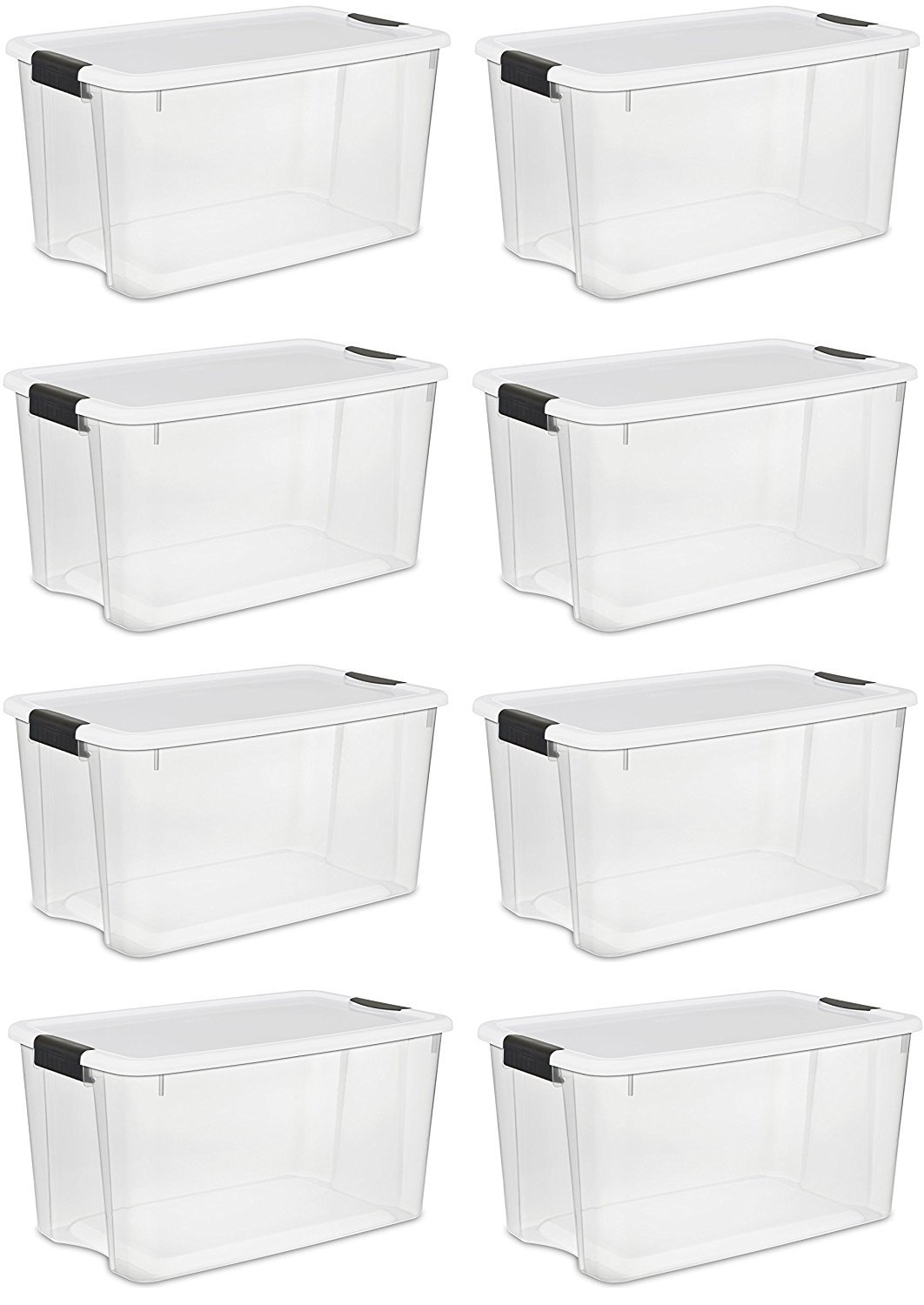 Sterilite 116 Quart/110 Liter Ultra Latch Box, Clear with a White Lid and Black Latches, (116 Quart, 8-Pack)