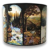 Royal Designs Modern Trendy Decorative Handmade Lamp Shade - Made in USA - Four Seasons Stained Glass Design - 10 x 10 x 8