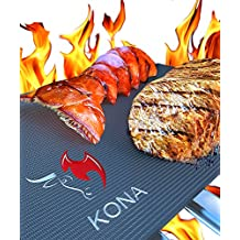 Kona BEST BBQ GRILL MAT - Set of 2 Mats - Up to 400% Thicker Than Miracle, Yoshi, Others Plus 2,000 Uses - Free 7YR Replacement - For Grilling Meat, Veggies, Seafood, PIZZA - No Fall Through, No Flame Ups, Non-Stick - Dishwasher Safe 100% Guaranteed