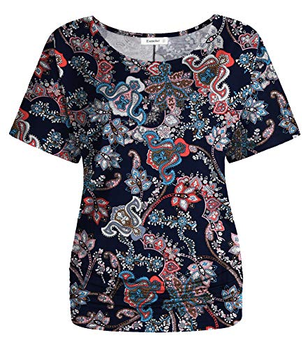 (Esenchel Women's Short Sleeve Dolman Top Scoop Neck Drape Shirt 2X Paisly Floral)