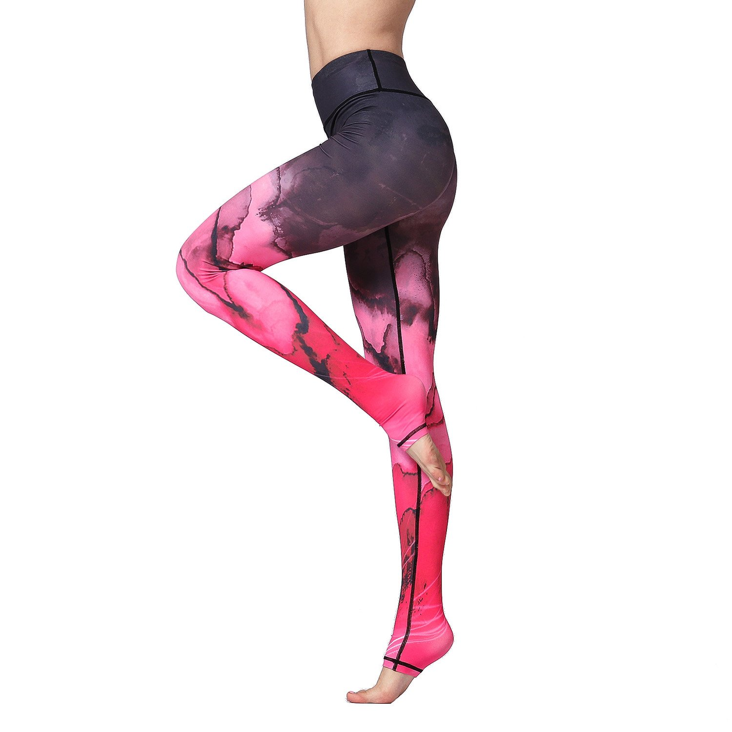 Hk89 Red Witkey Printed Extra Long Women Yoga Leggings High Waist Tummy Control Over The Heel Yoga Pants