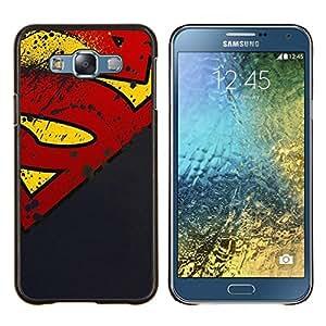 Superhero Grunge- Metal de aluminio y de plástico duro Caja del teléfono - Negro - Samsung Galaxy E7 / SM-E700