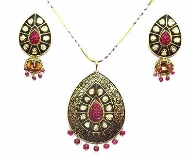 Jewelshingar jewellery antique gold plated fine polki kundan pendant jewelshingar jewellery antique gold plated fine polki kundan pendant set for girls 17932 dc aloadofball Choice Image