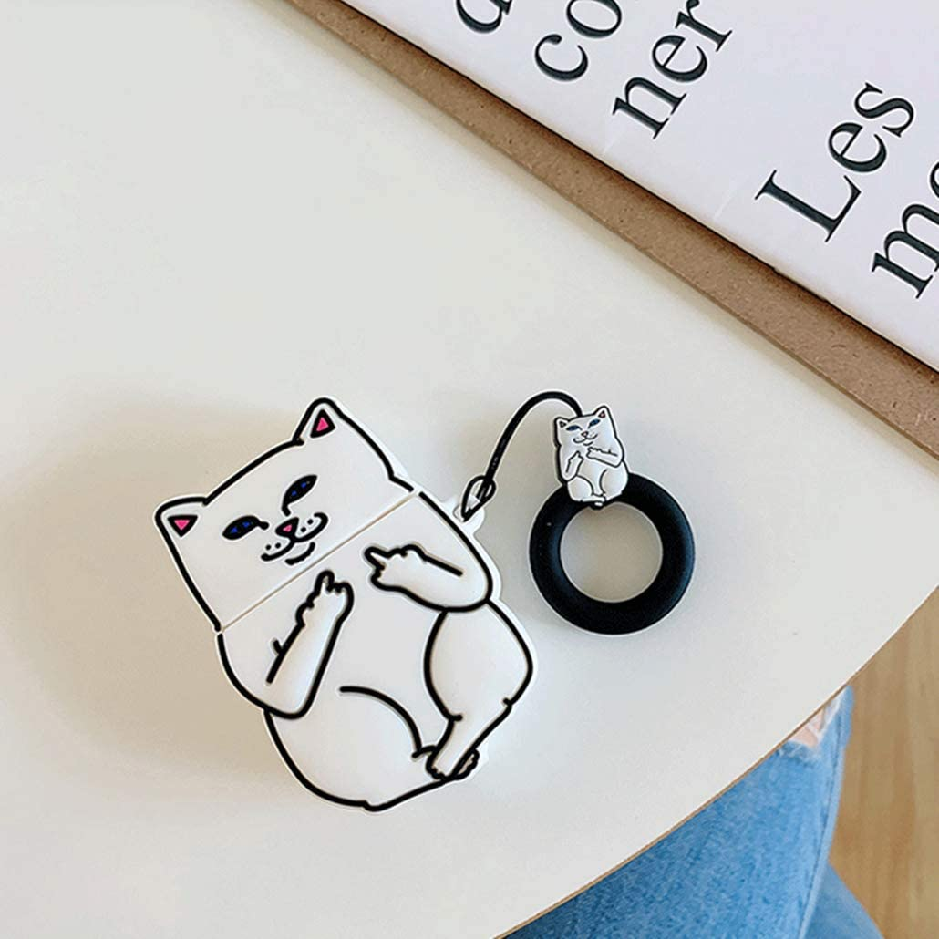 Gift-Hero Compatible with Airpods 1/&2 Silicone Cute Case,Cartoon 3D Fun Animal Funny Cool Kawaii Designer Kits Character Skin Fashion Stylish Cover for Girls Boys Kids Teens Air pods White Finger cat