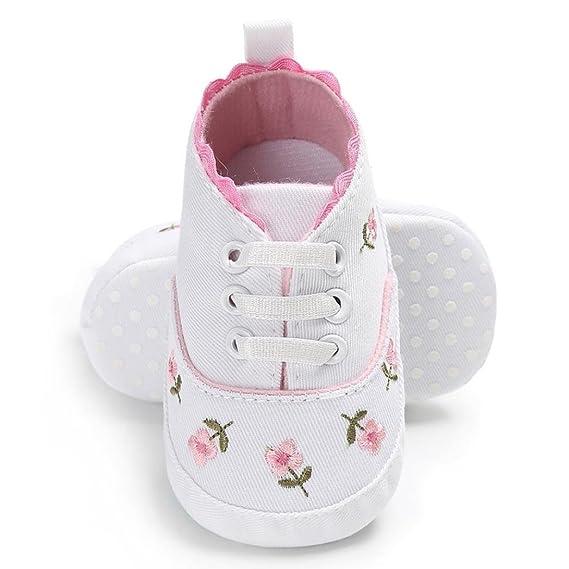 Fossen Bebe Zapatos Recien Nacido Niña Primeros Pasos Bordado Floral Antideslizante Suela Blanda Zapatos: Amazon.es: Ropa y accesorios