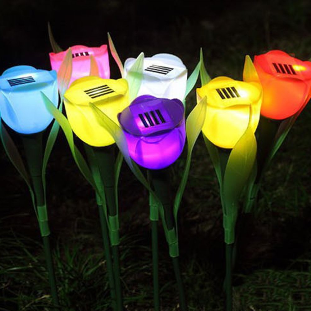 Outdoor Solar Powered Flower Light Lamp Stake for Home Garden Yard Lawn Pathway Party Decorative Landscape LED Rose Lights,Great for Gift(4 Pack)