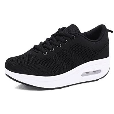 94f9dd10cc64 Women s Trainers Platform Sneakers Jogging Mesh Air Cushion Ladies Sport  Shoes Wedges Lace-up Fitness Casual Rocker Thick Bottom 5cm Black Pink  Purple White ...