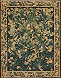 Ecarpetgallery Hand-woven French Tapestry Flowers 6' x 9' Black 100% Wool area rug