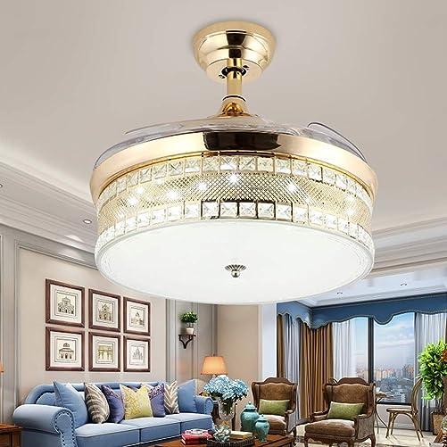 42″ Crystal Ceiling Fan Chandelier Retractable Blade Ceiling Fan
