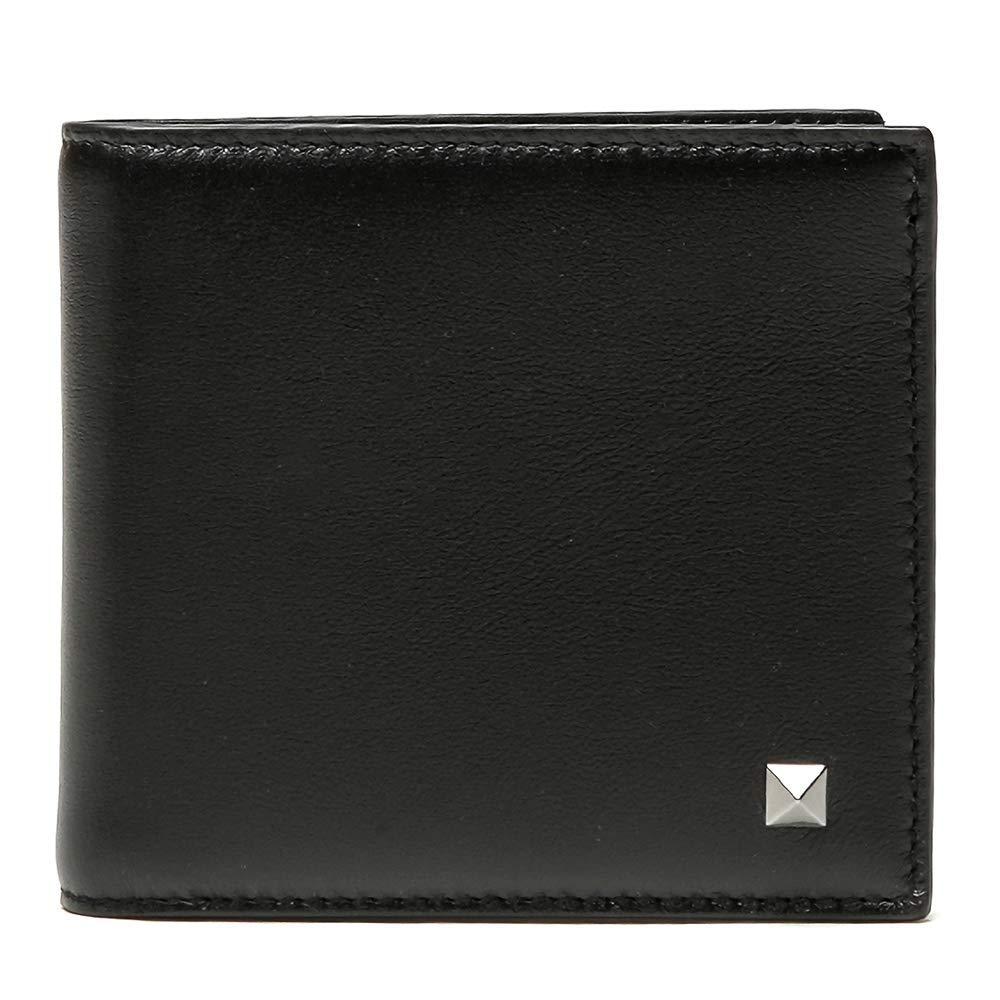 [ヴァレンティノ] [VALENTINO] メンズ 陰刻ロゴ レザー 配色 二つ折り財布 ブラック系 ネイビー系 [並行輸入品] B07GNQFFJT  One Size