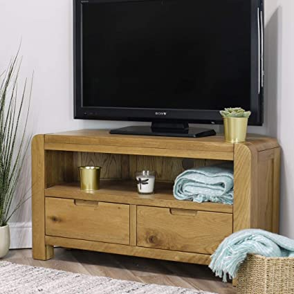 separation shoes 0c15d 00c21 Turin Oak Corner TV Unit / 2 Drawer Storage TV Stand/Rounded Curved  Edges/Living Room Storage