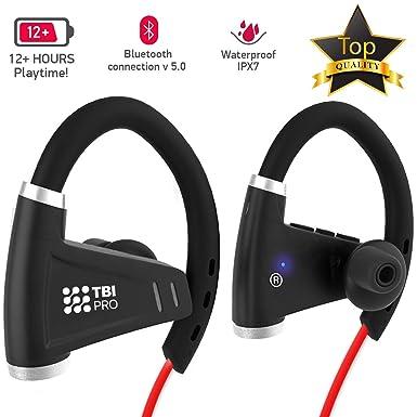 Bluetooth Headphones w 12 Hours Battery – Best Workout Wireless Sport Earphones w Mic – IPX7 Waterproof Music Earbuds for Gym Running Sport Headphones
