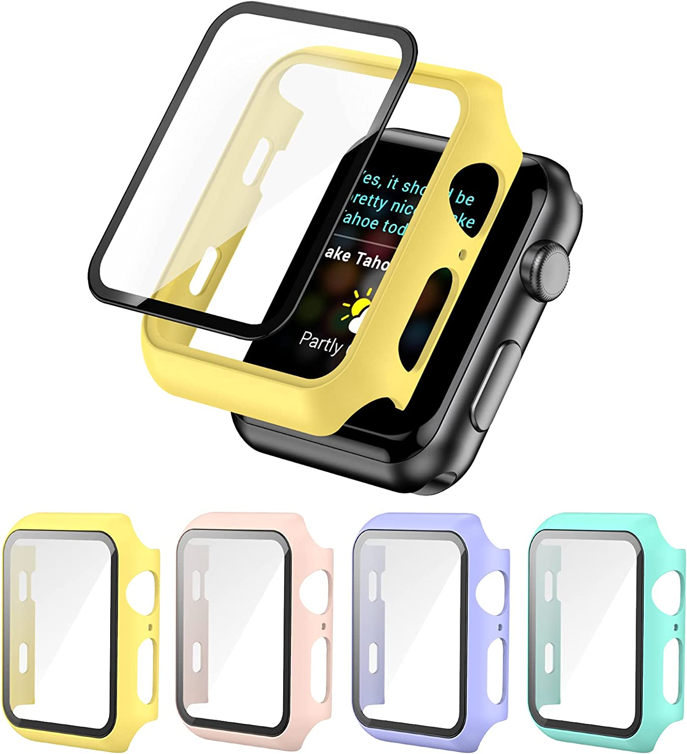 [4 Pack] Screen Protector Case Compatible with Apple Watch 38mm Series 3/2/1, Full Hard PC Ultra-Thin Scratch Resistant Bumper HD Protective Watch Cover for Women Men iWatch Accessories PLWENST
