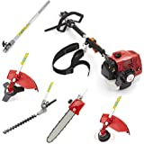 Trueshopping® 62cc Petrol Multi Tool Long Reach Multi Function 5 In 1 Garden Power Tool Including: Hedge Trimmer, Strimmer, Brushcutter, Chainsaw Pruner & Free Extension Pole 2-Stroke 2.KW / 3.5HP