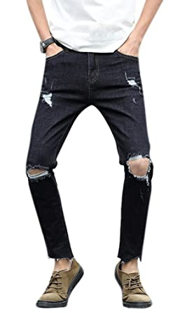 b7edf4f77107 Men's Black Skinny Fit Distressed Tapered Washed Jeans With Knee Rips 28