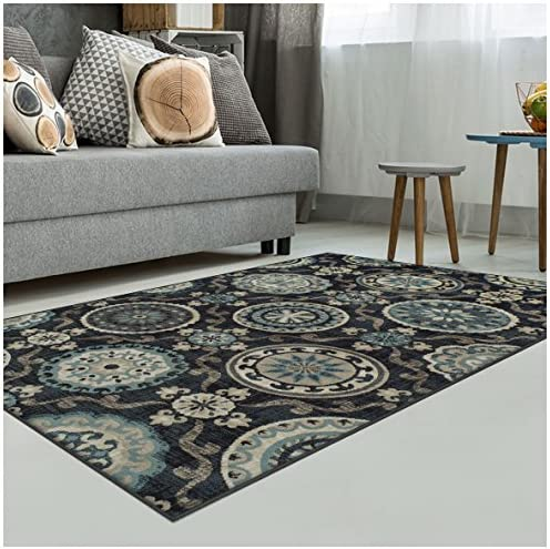 Superior Abner Collection Area Rug, 10mm Pile Height with Jute Backing, Fashionable and Affordable Rugs, Beautiful Scrolling Medallion Pattern – 8 x 10 Rug, Black with Blue and Beige