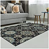 Superior Abner Collection Area Rug, 10mm Pile Height with Jute Backing, Fashionable and Affordable Rugs, Beautiful Scrolling Medallion Pattern - 5' x 8' Rug, Black with Blue and Beige