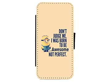 Minions Dont Judge Me Quote Leather Flip Phone Amazoncouk