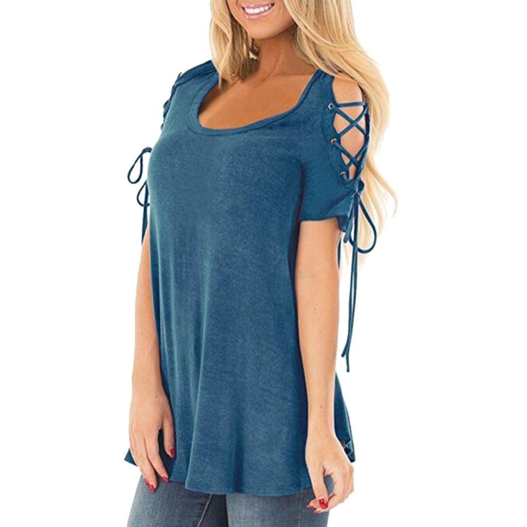303761d8472db lovely Womens Top Franterd Summer Cold Shoulder Shirts Lace Up Short Sleeve  Dressy Tunic Casual Loose