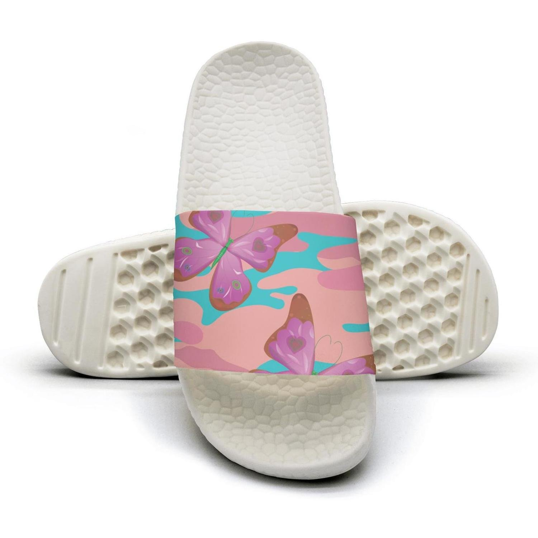 HSJDAPOCOAQ Butterfly pink camo indoor flip flops for women