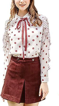 Mujer Tops Primavera Otoño Chiffon Elegante Blusa Chic Lunares Camisas Vintage Manga Largo De Solapa Bandage con Lazo Shirt Camisetas: Amazon.es: Ropa y accesorios