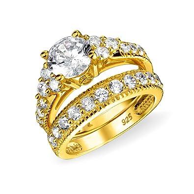 Plaqué Bling Argent 925 Côté Aaa Ensemble Ronde Jewelry Sterling Fiancailles 14k 3ct Solitaire Bague Or Pierres De Cz Ouvrir wyvOmnPN08
