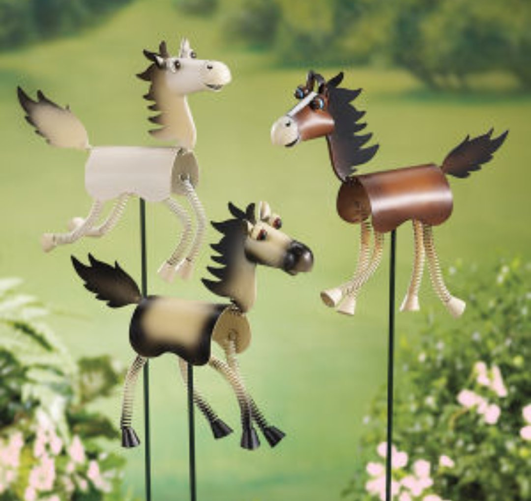 Three hand painted horse garden stakes