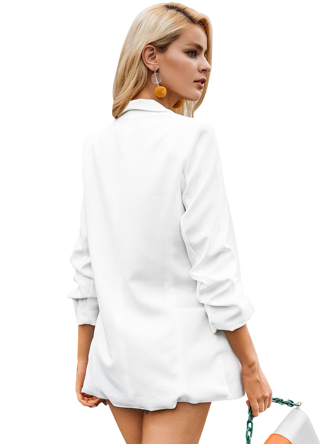 Simplee Women's Fashion 3/4 Ruched Sleeve Open Front Work Office Blazer Jacket by Simplee Apparel (Image #3)