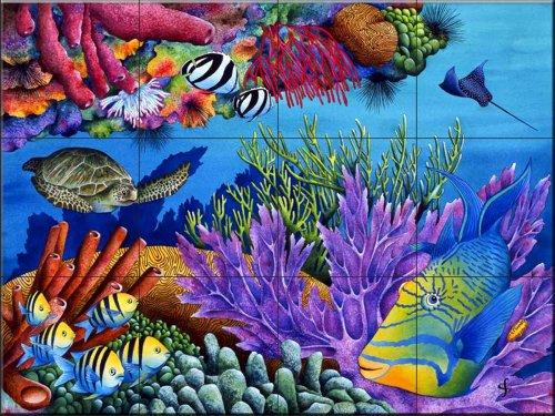 Ceramic Tile Mural - Hide and Seek - by Carolyn Steele - Kitchen backsplash/Bathroom Shower