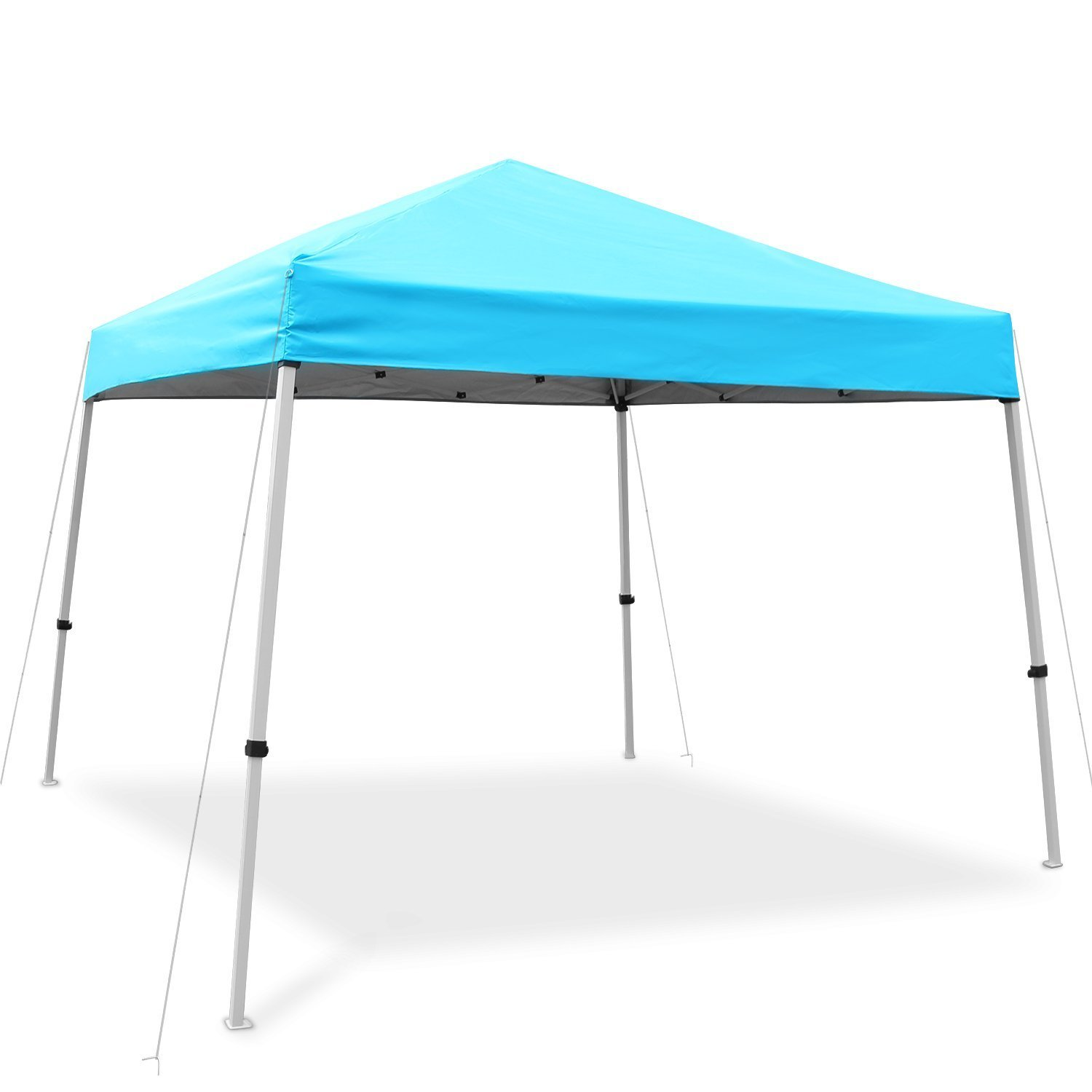 Ohuhu EZ Pop-Up Slant Leg Canopy Tent, 10 X 10 FT Reinforced Steel Frame Commercial Instant Shelter with 3 Adjustable Heights, Easy-Carrying Lightweight Durable Canopy with Wheeled Carry Bag, Blue