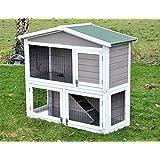 """nanook clapier cage lapin en bois """"Flocon"""" 2 étages - jolies couleurs - blanc gris - Taille XL 125 x 109 cm"""