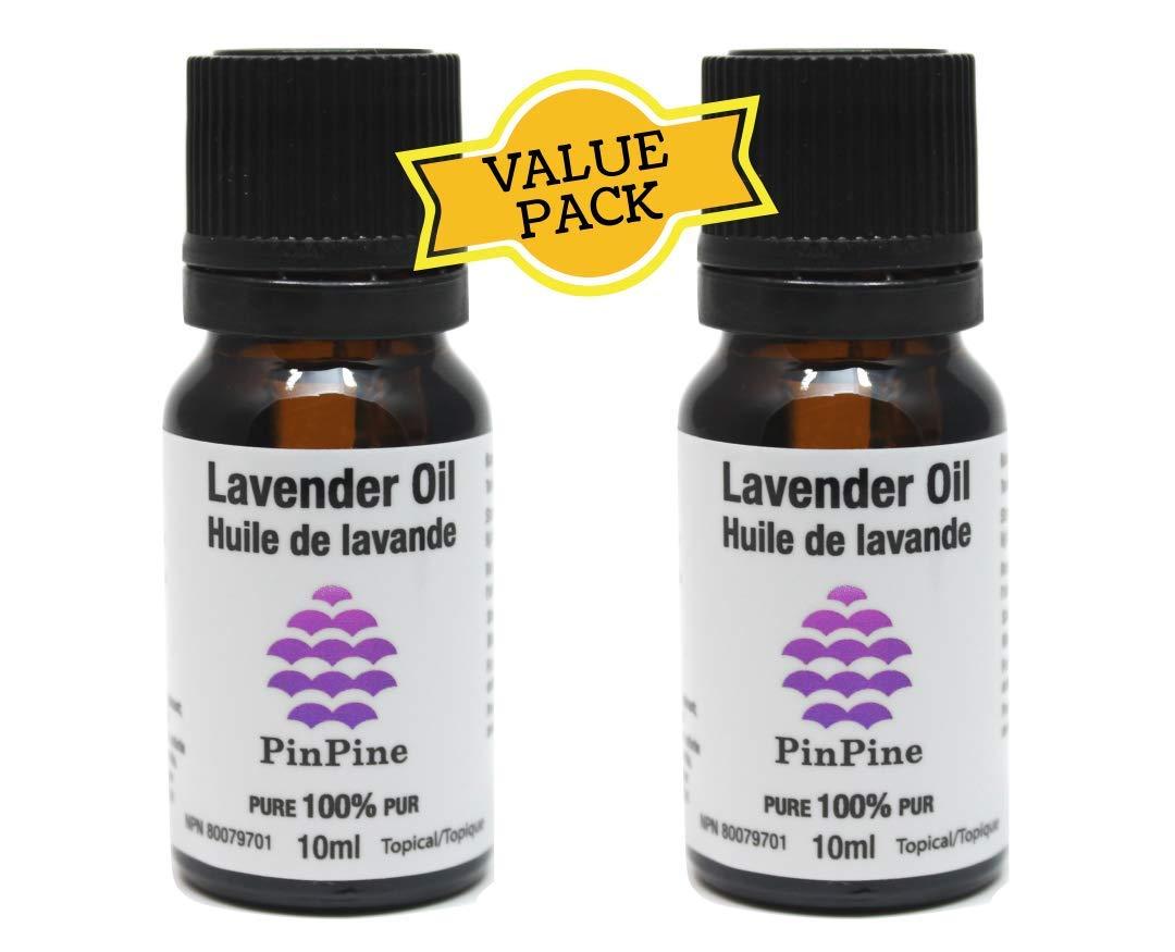 Lavender Essential Oil (Lavandula Angustifolia) - Value Pack: 2 x 10 mL bottles - 100% Pure Therapeutic Grade - Premium Quality PinPine Naturals
