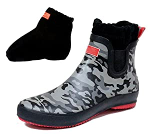 CAMSSOO Women's Men's Elastics Rain Boots Shoes with Thick Socks Camouflage Rubber Size 9 US M