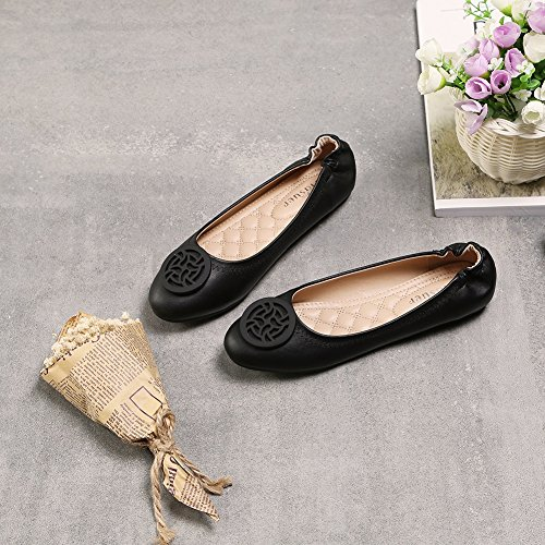 Meeshine Womens Round Toe Ballet Flats Soft Comfort Buckle Slip On Ballerina Shoes Black FI9onX
